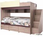 Двухъярусная кровать Мебель-КМК Бамбино 3-1 0527 (дуб атлант/дуб кентерберри)