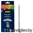 Карандаши цветные Silwerhof 134211-12 Цветландия круглые 12цв. сереб. корпус супермягкий грифель коробка