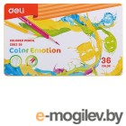 Карандаши цветные Deli EC00235 Color Emotion липа 36цв. мет.кор.