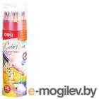 Карандаши цветные Deli EC00337 ColoRun трехгранные 36цв. точилка карт.тубус