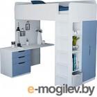 Комплект мебели Polini Kids Simple с письменным столом и шкафом (белый/синий)