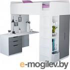 Комплект мебели Polini Kids Simple с письменным столом и шкафом (белый/серый)