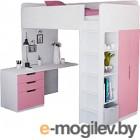 Комплект мебели Polini Kids Simple с письменным столом и шкафом (белый/розовый)