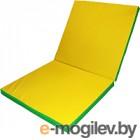 Гимнастический мат No Brand Складной 2x1x0.1м (зеленый/желтый)