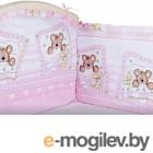 Бортик Alis 360x40 со съемными чехлами (бязь, розовый)