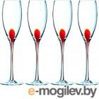 Набор бокалов для шампанского Luminarc Drip red C9260 (4шт)