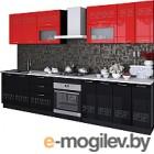 Готовая кухня Артём-Мебель Адель со стеклом 2.6 МДФ/глянец (красный/черный глянец)