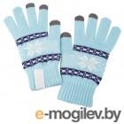 Теплые перчатки для сенсорных дисплеев Проект 111 Snowflake Light Blue 2794.44