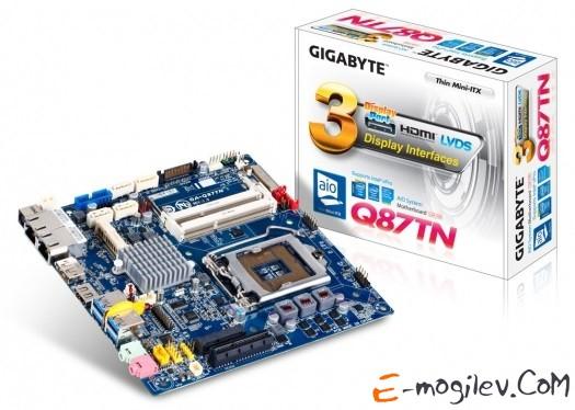 GIGABYTE GA-Q87TN S1150, iQ87, 4*DDR3, 2*PCI-E16x, SVGA, DVI, HDMI, DP, SATA III, SATA RAID, GB Lan, mATX, Retail