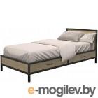 Односпальная кровать Millwood Loft KM-3.2 (дуб натуральный/металл черный)