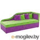 Тахта Mebelico Дюна 4 (микровельвет, зеленый/фиолетовый)