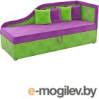 Тахта Mebelico Дюна 4 (микровельвет, фиолетовый/зеленый)
