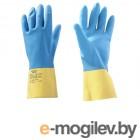 Перчатки из неопрена защитные промышленные, р-р 9/L, желто-голубые, JetaSafety (Защитные промышленные перчатки из неопрена. Голубые-Желтые Р-ры: L  (1