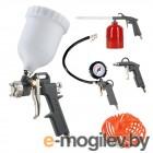 Набор пневмоинструмента PATRIOT KIT 5В  5пр. краскопульт с н.баком пистолеты шланг5м пульверизатор