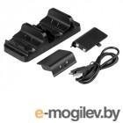 Игровые джойстики, геймпады, рули и аксессуары Зарядное устройство Dobe TYX-532S/X Dual Charging Stantion + Battery Pack 600mAh Black для Xbox One S