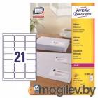 Этикетки Avery Zweckform L7160-100 A4 63.5x38.1мм 21шт на листе/70г/м2/100л./белый самоклей. универсальная