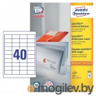 Этикетки Avery Zweckform 3657 A4 48.5x25.4мм 40шт на листе/70г/м2/100л./белый матовое самоклей. универсальная