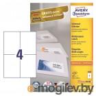 Этикетки Avery Zweckform 3483 A4 105x148мм 4шт на листе/70г/м2/100л./белый матовое самоклей. универсальная