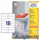 Этикетки Avery Zweckform 3423 A4 105x35мм 16шт на листе/70г/м2/100л./белый самоклей. универсальная