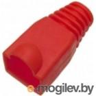 Защитные колпачки для кабеля 6,0мм cat.5, на соединение коннектора с кабелем, красный, 100 шт. в пчк