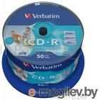CD-R [ 50 шт. туба ] Verbatim 52x /700Mb/80min/ - Printable #043309