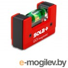 Уровень 68 мм 1 глазок пластм. GO! magnetik  (SOLA) (Карманный магнитный уровень без держателя на пояс)