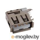 USB-006, разъем USB на плату, вертикальный, Slim