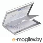 Визитница карманная Durable Business Card Box Duo 55х90мм (20 визиток) алюминий серебристый