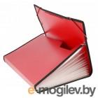 Папка на резинке Бюрократ BPR13LRED 13 отдел. A4 с окантовкой пластик 0.7мм красный
