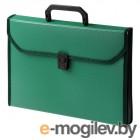 Портфель Бюрократ BPP13TLGRN 13 отдел. A4 ребрист. поверхн. с окантовкой пластик 0.7мм зеленый