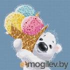 Набор для вышивания БЕЛОСНЕЖКА Медвежонок с мороженым / 162-14