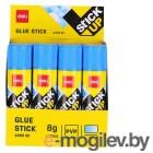 Клей-карандаш Deli EA20530 8гр корп.желтый/синий ПВП дисплей картонный цветной (исчезающий цвет) Stick UP