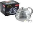 Чайник заварочный MALLONY Menta-600 из нержавеющей стали и жаропрочного стекла, 0,6 л