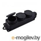 EKF RPS-015-16-230-44 Розетка трехместная с защит. крышками каучуковая 230В 2P+PE 16A IP44 EKF PROxima