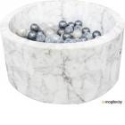 Игровой сухой бассейн Misioo 90x40 200 шаров (белый мрамор, вельвет)