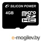 Silicon Power Micro Secure Digital Card 4Gb SDHC Class10 (без адаптера) Retail SP004GBSTH010V10