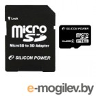 Silicon Power 32Gb Micro Secure Digital Card SDHC Class4 + адаптер Retail SP032GBSTH004V10-SP