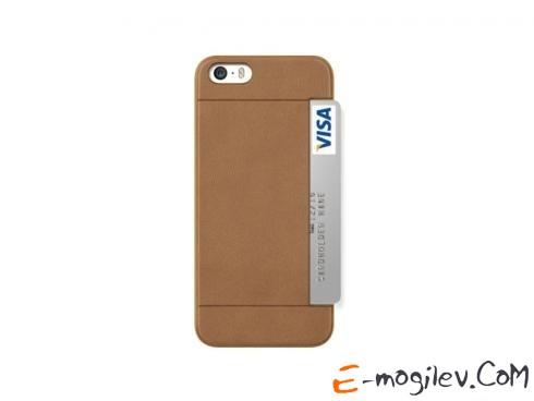 Пластиковый чехол для iPhone 5/5S с дополнительным отделением для кредитки или пропуска Ozaki 0.3 + Pocket.Цвет:коричневый OC547BR