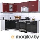 Готовая кухня Интерлиния Мила Gloss 60-12x27 (бордовый/черный глянец)
