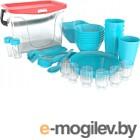 Набор пластиковой посуды Berossi Party ИК 56137000 (бирюзовый)
