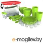 Набор пластиковой посуды Berossi Party ИК 56138000 (салатовый)