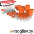 Набор пластиковой посуды Berossi Party ИК 56140000 (мандариновый)