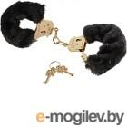 Наручники Pipedream Gold Deluxe Furry Cuffs / 27022 (с черным мехом)