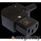 Вилка IEC 60320 C13, 10A, 250V, угловая, разборная, черная