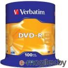 Verbatim DVD-R 4.7Gb 16х 100 шт Cake Box 43549