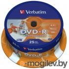 Verbatim DVD-R 4.7Gb 16х 25 шт Cake Box Printable 43538