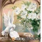 Набор алмазной вышивки Алмазная живопись Голуби у белых роз / АЖ-1099