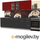 Готовая кухня Интерлиния Мила Пластик 2.5 Б (антрацит глянец/красный глянец/кастилло темный)