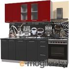 Готовая кухня Интерлиния Мила Пластик 1.8 Б (антрацит глянец/красный глянец/кастилло темный)
