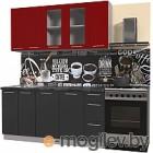 Готовая кухня Интерлиния Мила Пластик 1.7 Б (антрацит глянец/красный глянец/кастилло темный)